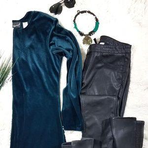 Emerald green velvet dress crew neck long sleeve